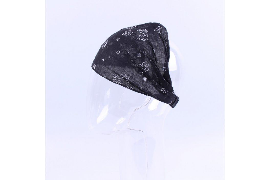 Dámský šátek na hlavu černý s květinami