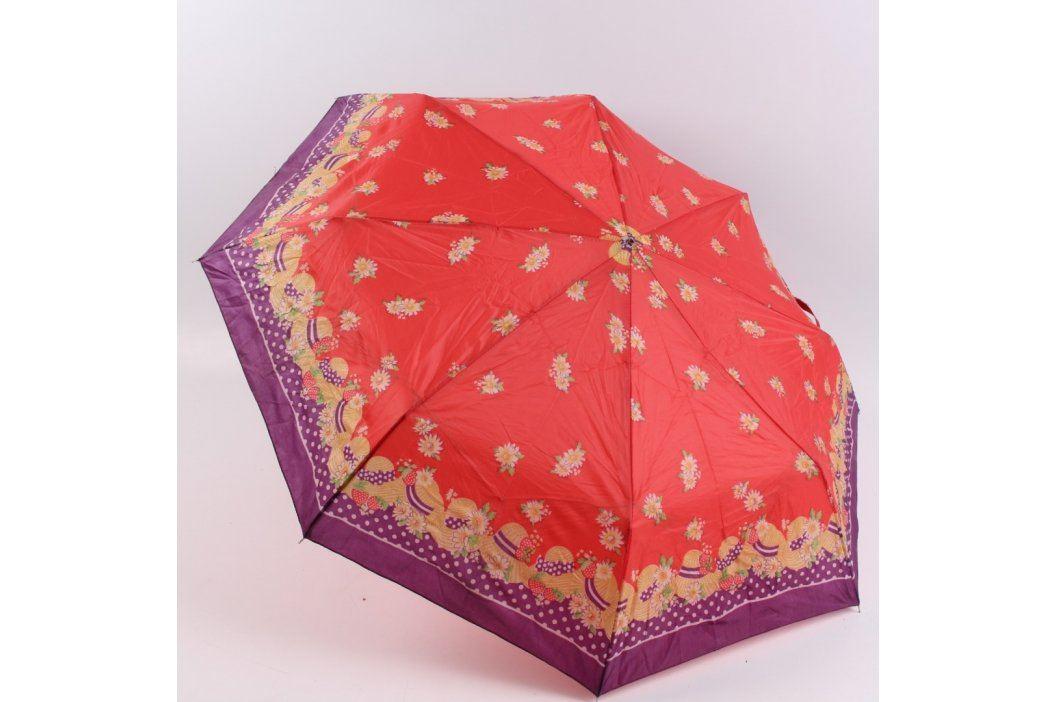 Deštník skládací červeno fialový s květy Deštníky