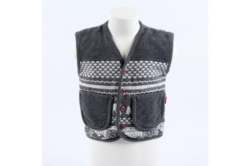 Dětská vesta s vánočnímy motivy sobů šedá Dětská saka a vesty
