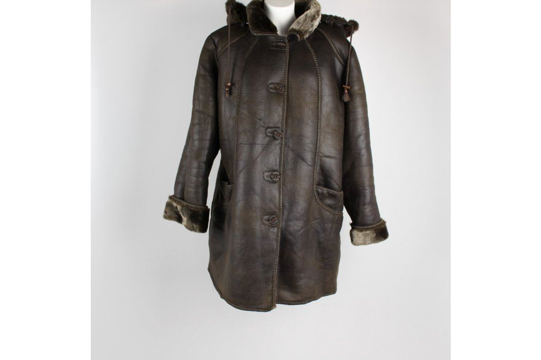 Dámský kabát Kaxuer zeleno-hnědý Dámské bundy a kabáty