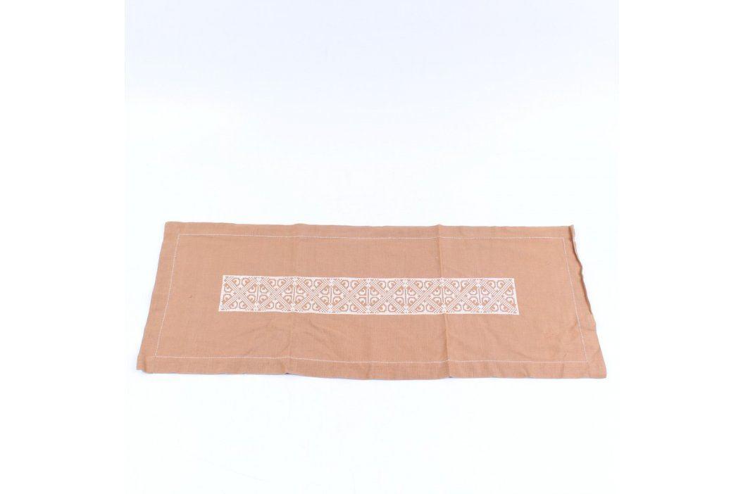 Ubrus hnědý s výšivkou 78 x 33 cm Ubrusy a ubrousky