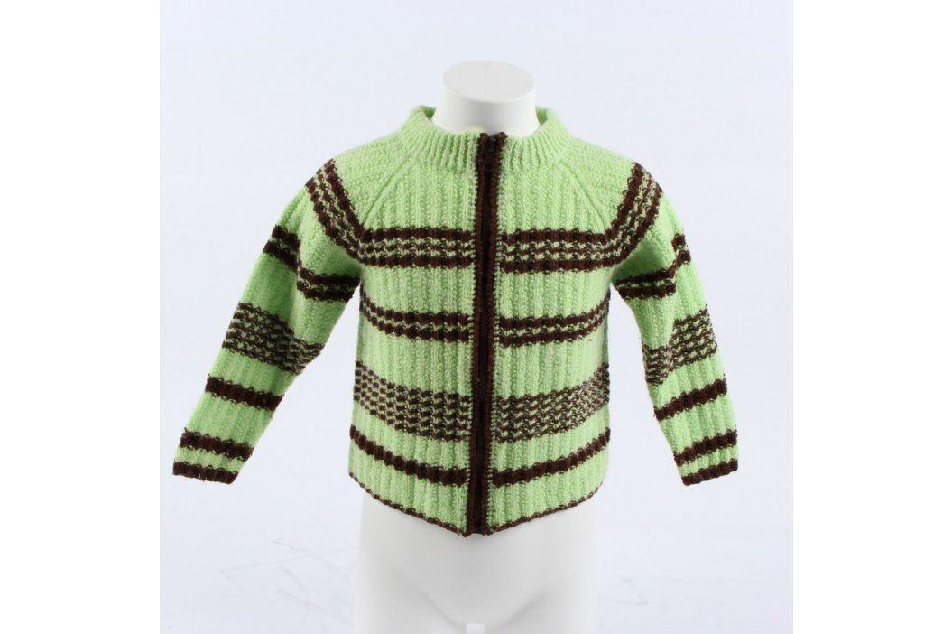 Dětský svetr na zip zeleno hnědý Dětské mikiny a svetry