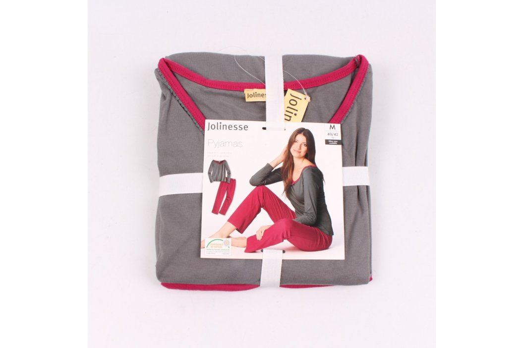Dámské dlouhé pyžamo Jolinesse červené Dámská pyžama, košilky a župany