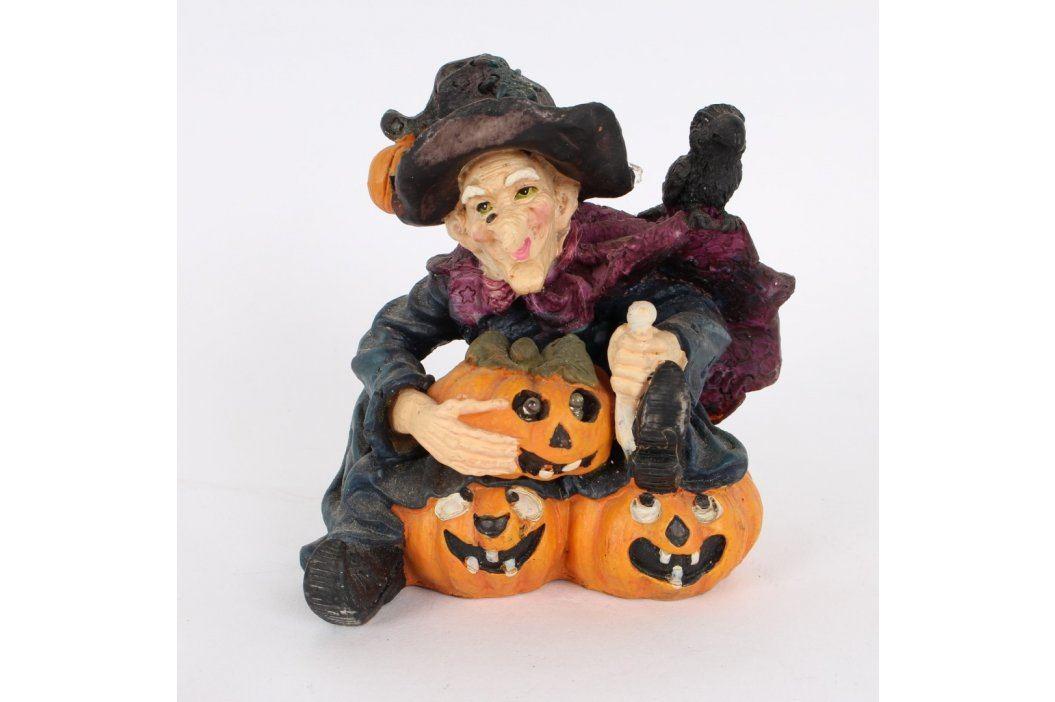 Keramická figurka svítící čarodějnice s dýní Keramické dekorace