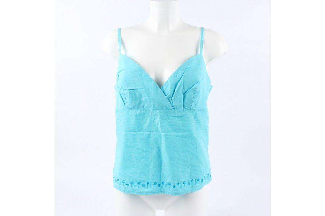 Dámské tílko modré s vyšitými kytičkami Dámská trička a topy