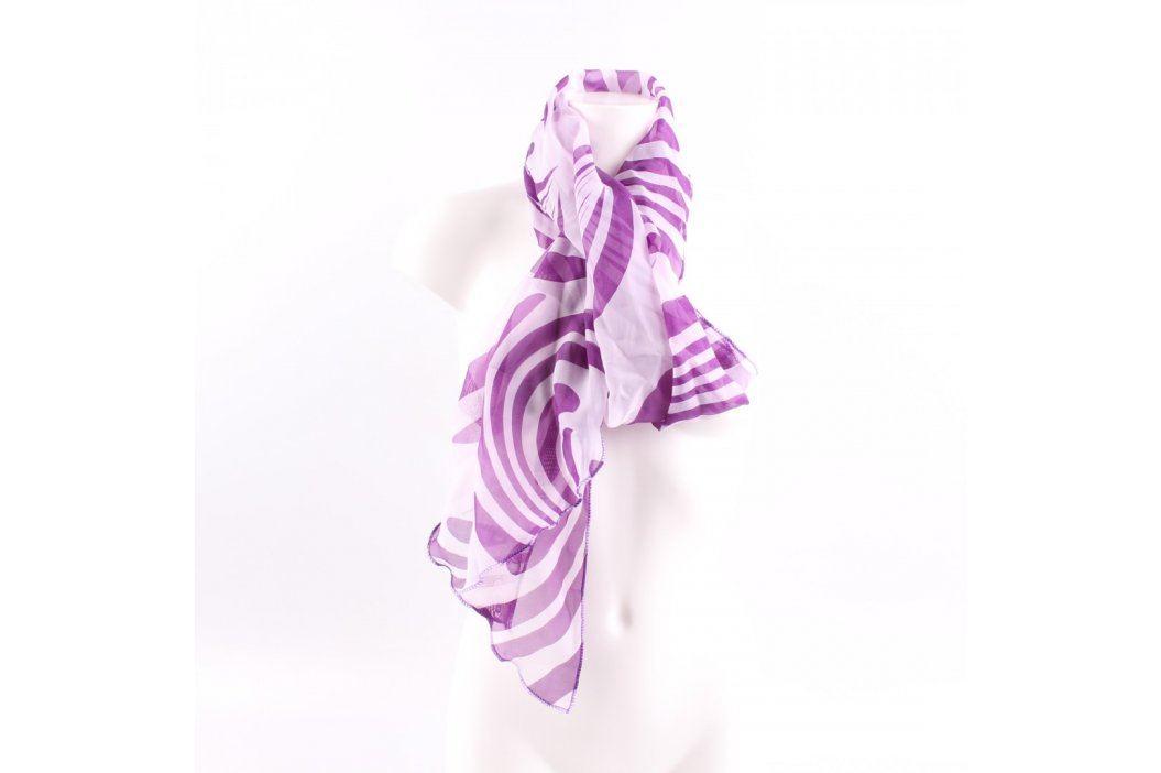 Dámský šátek bílý s fialovými vzory Šály a šátky