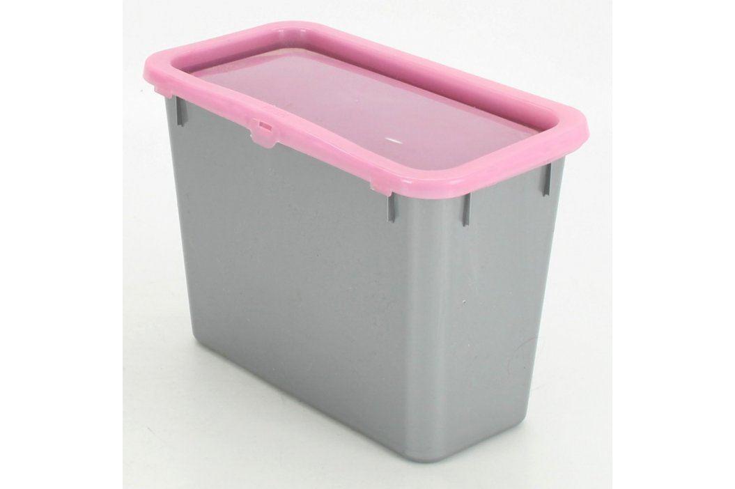 Plastový úložný box šedý s růžovým víkem Úložné boxy