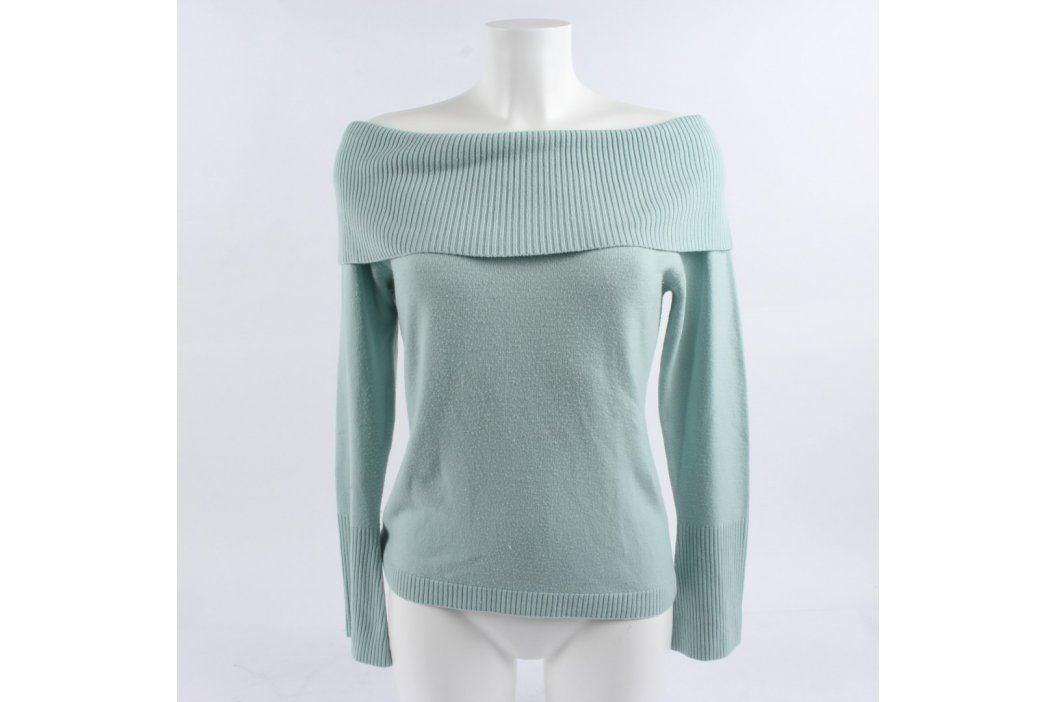 Dámský svetr s odkrytými rameny světle modrý Dámské svetry a roláky