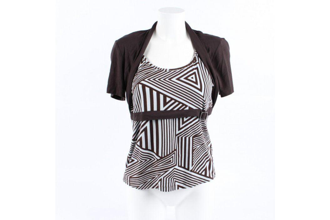 Dámské tričko hnědé s geometrickými tvary Dámská trička a topy