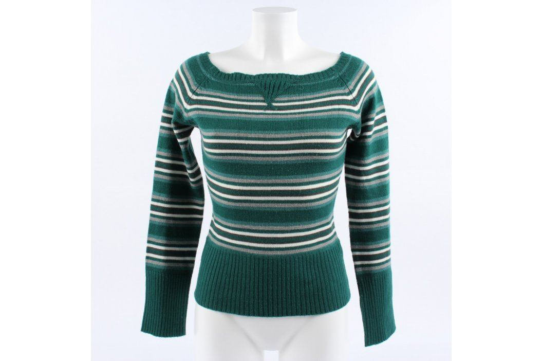 Dámský svetr Terranova zelený s pruhy Dámské svetry a roláky