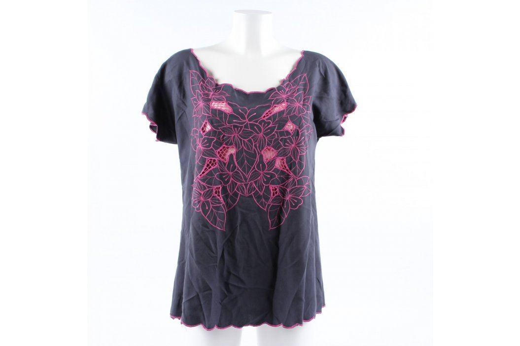Dámské tričko šedé s růžovou výšivkou Dámská trička a topy