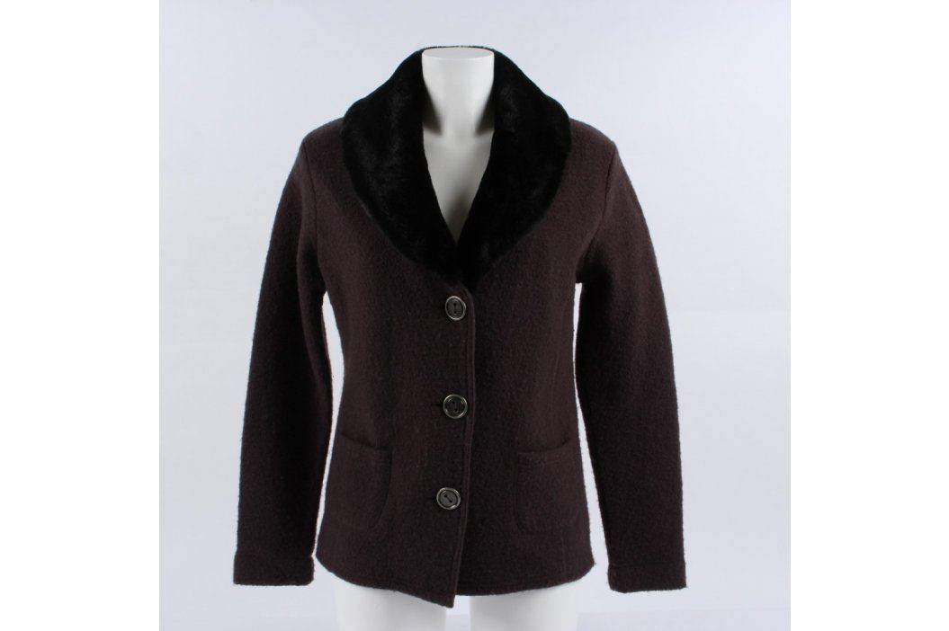 Dámský kabát Adagio hnědý s černým kožíškem Dámské bundy a kabáty