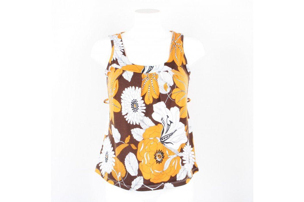Dámský top Tipster hnědý s bíložlutými květy Dámská trička a topy