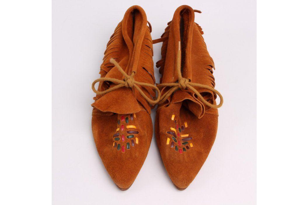 Dámské mokasíny hnědé s třásněmi Volnočasová a domácí obuv