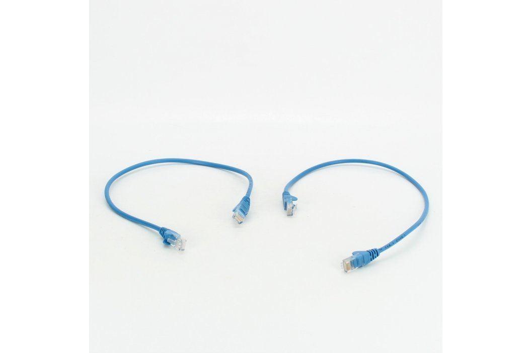 2 x UTP kabel RJ45 modrý délka 50 cm Síťové kabely