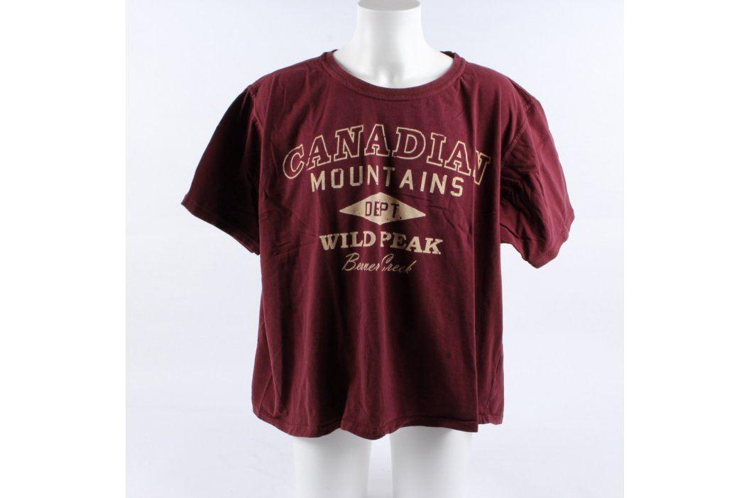 Pánské tričko Identic vínové s nápisem  Pánská trička