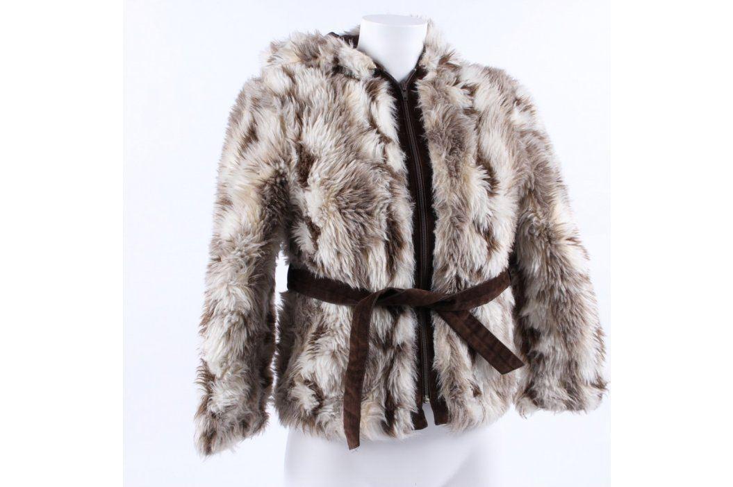 Dětská bunda Wirkflor chlupatá hnědobílá Dětské bundy a kabáty