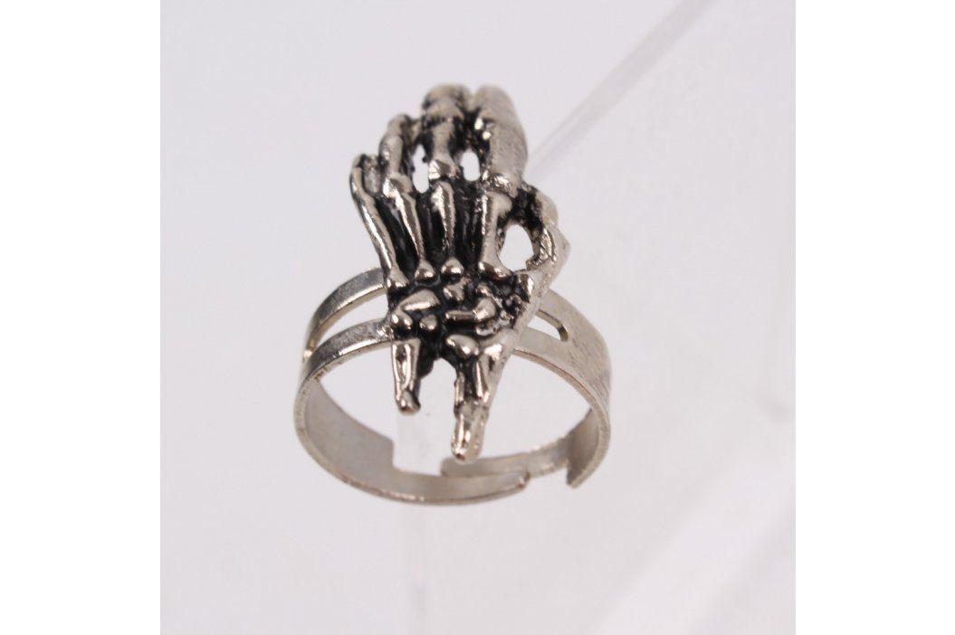 Prsten s kostrou ruky stříbrná barva Prsteny