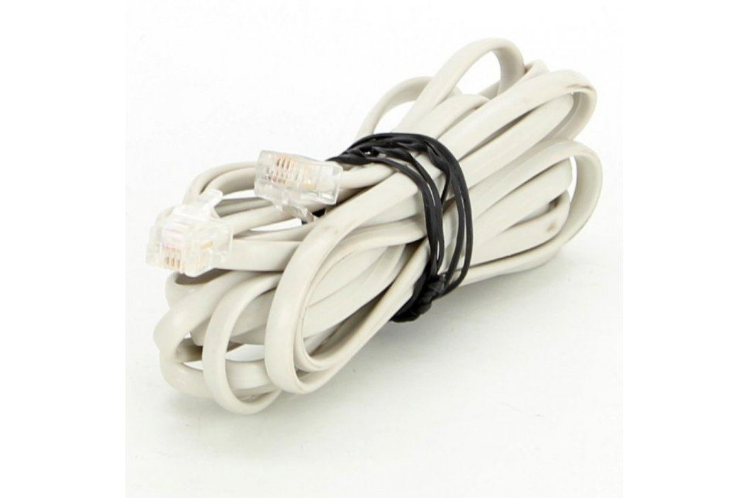 Telefonní dvojlinka RJ12 bílá délka 300 cm Síťové kabely
