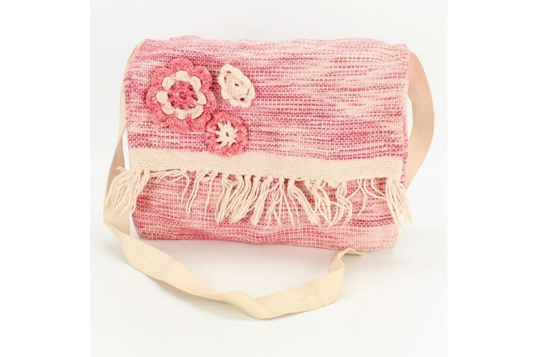 Dárková taška růžová s háčkovanými kytičkami Tašky a aktovky