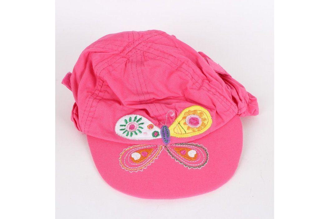 Dívčí kšiltovka F&F růžová s motýlem Dětské šály, čepice a rukavice