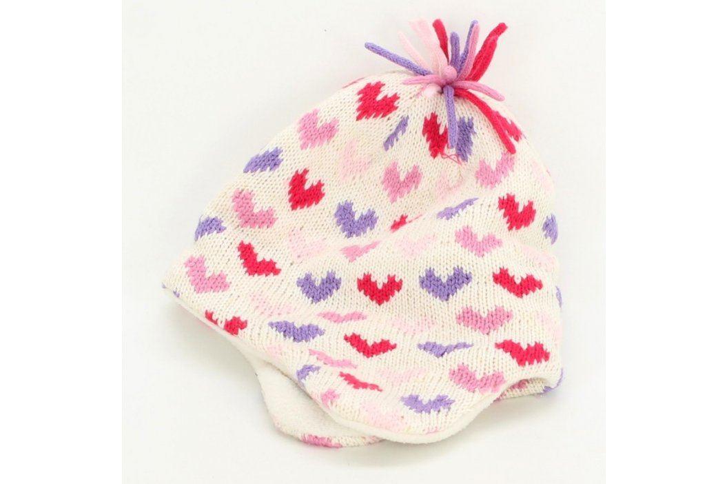Dětská čepice bílá s barevnými srdíčky Dětské šály, čepice a rukavice