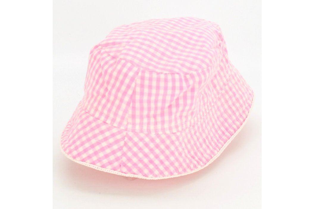 Dětský klobouk s růžovo bílou kostkou Dětské šály, čepice a rukavice