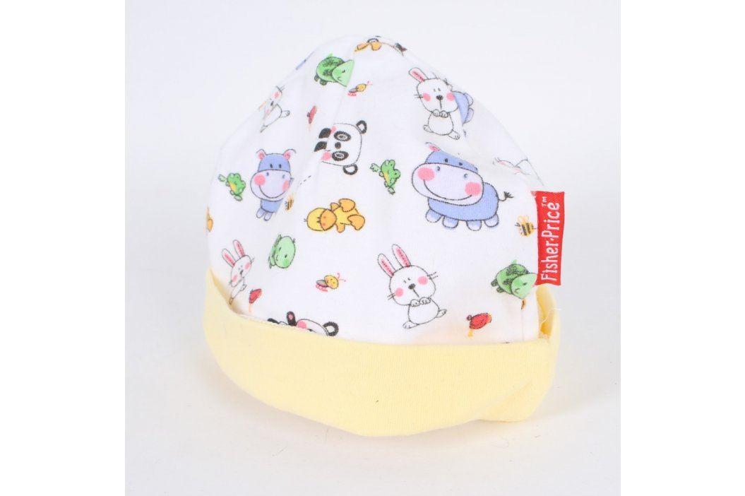 Dětská čepice Fisher Price bílá se zvířátky Dětské šály, čepice a rukavice
