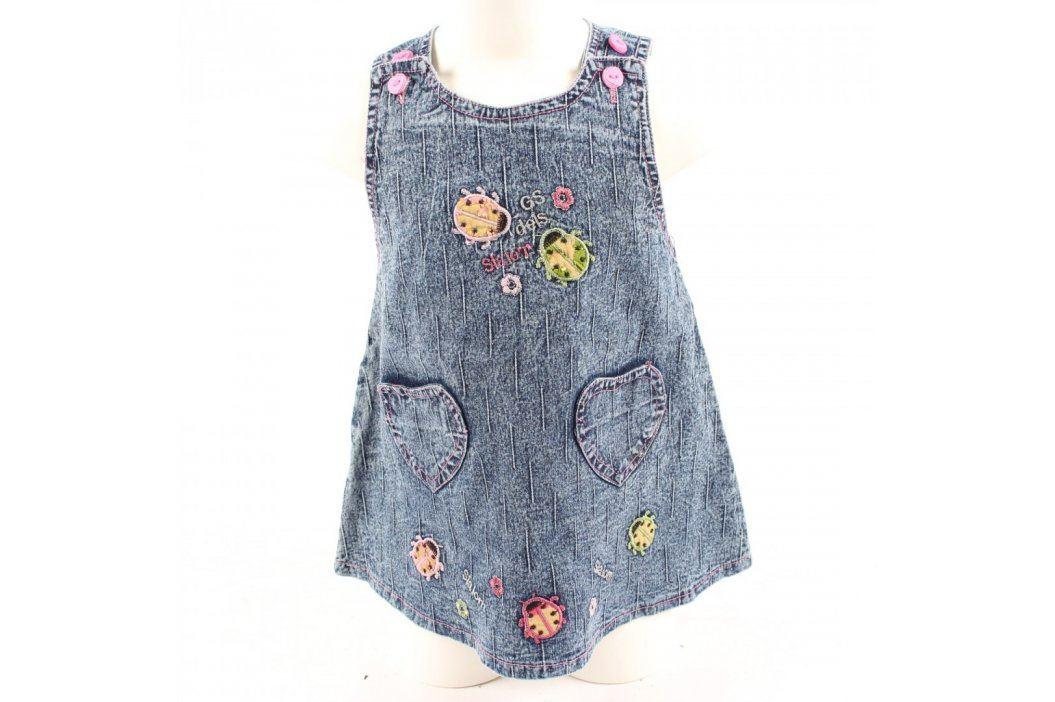 Dětské šaty džínové modré s beruškami Dětské šaty a sukně