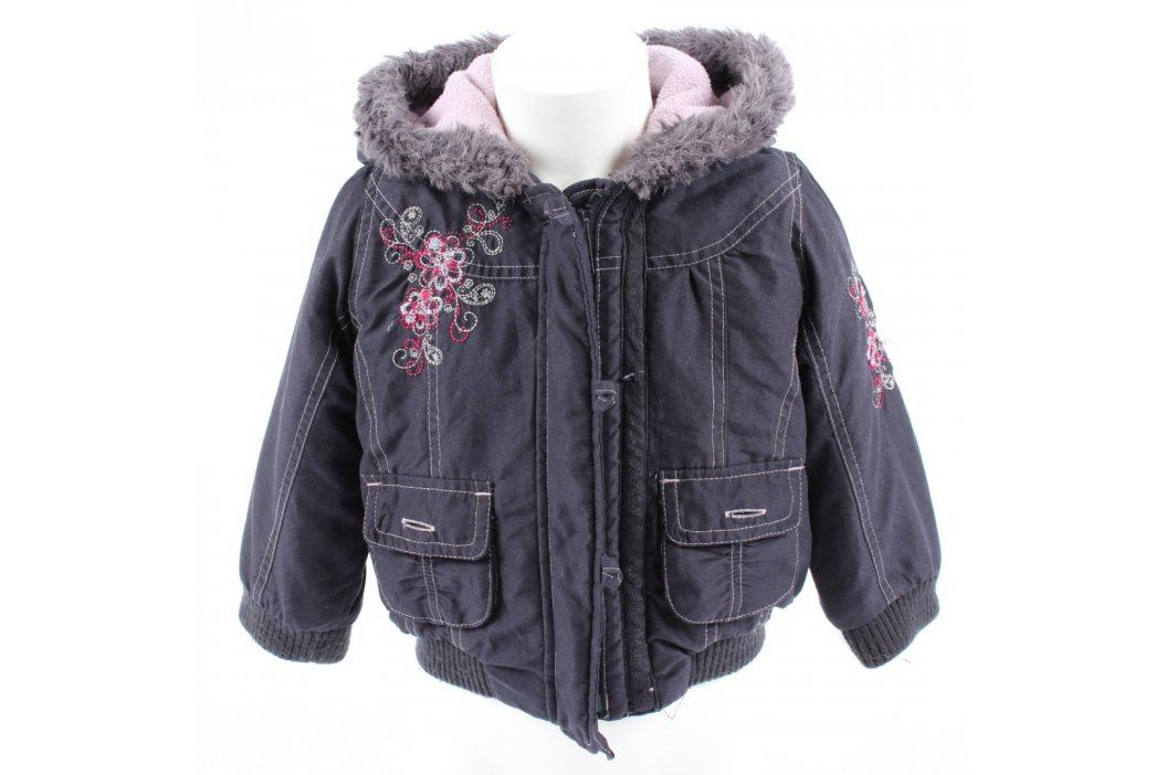 Dětská bunda Mothercare černá s kytičkami Dětské bundy a kabáty