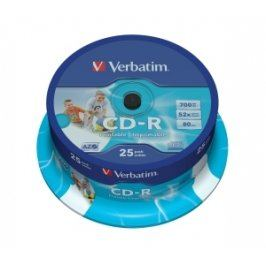 Verbatim CD-R DataLife Protection 52x, Printable 25ks cakebox