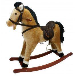 ALLTOYS Houpací kůň závodní - sv.hnědý se zvukem