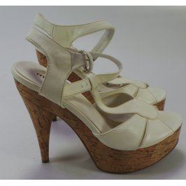 Dámské sandály Mixer na korkovém podpatku, bílé