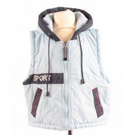 Dětská modrá vesta s kapucí