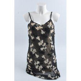Dámské lehké šaty černé s motivem květin