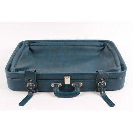 Cestovní kufr koženkový modrý