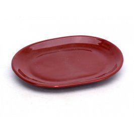 Oválný porcelánový talíř hnědočervený