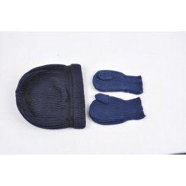 Souprava čepice a rukavice odstíny modré