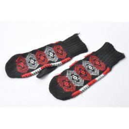 Palcové rukavice s červenobílými vzory