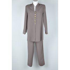 Dámský kalhotový kostým Tomiga šedo-béžový