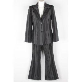 Dámský kalhotový kostým černošedý