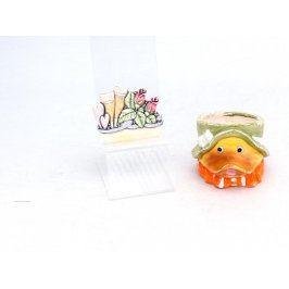 Keramické dekorace: kachna, květiny, 2 ks