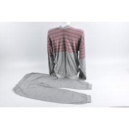 Pánské dlouhé pyžamo šedo-červené