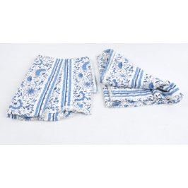 Přehozy bílé s modrým potiskem 130 x 120 cm