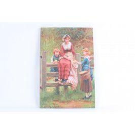Dřevěný obraz matky s dětmi