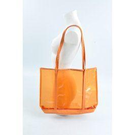 Plážová kabelka průhledná oranžová