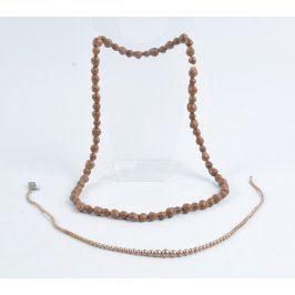 2 ks náhrdelníků dřevěné korále a perličky