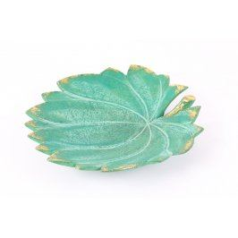 Mísa zelená ve tvaru listu