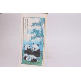 Dřevěný obraz s pandami