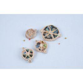 Porcelánová dekorace kulatá s korálky